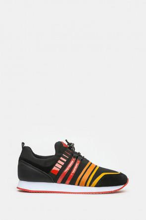 Кроссовки Trussardi черные,оранжевые - 77153_or
