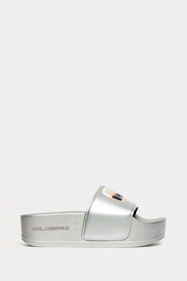 Шльопанці Karl Lagerfeld срібні - 80805ag
